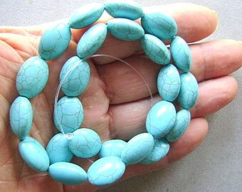 Beads,Turquoise,Howlite,Large, Focal,  Oval, Beads, Strand, Southwestern, Blue, Matrix,I
