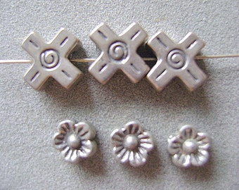 "BEADS, STERLING. ""X"", Shiny, Precious, Metal, Choice, 3 Pieces"