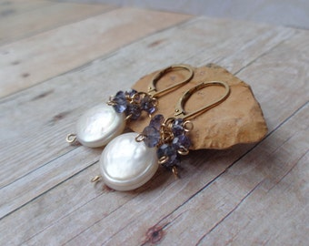 Iolite Earrings, Coin Pearl and Iolite Cluster Earrings, Gemstone and Pearl Jewelry