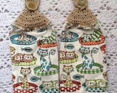 Cat Kitchen Towel Set of Two Crochet Top Towels
