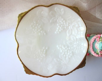 Vintage Milk Glass Grapevine Gold Trimmed Footed Serving Bowl