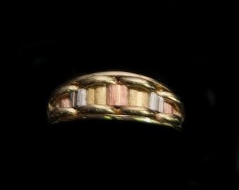 Three Toned 14k Gold Band