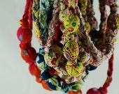 Blue Green Hip and Stylish Fabric Nursing Babywearing Necklace Beads Vegan