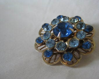 Flower Blue Rhinestone Brooch Gold Vintage Pin