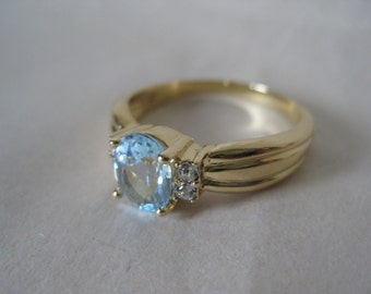 Blue Clear Rhinestone Gold Ring Faceted Vintage 9 1/4