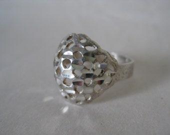 Dome Filigree Sterling Ring Vintage 7 1/4 925 Silver