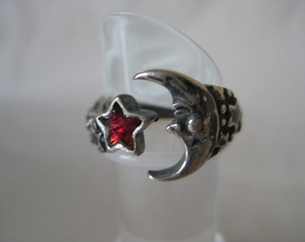Moon Star Red Sterling Ring Vintage 925 Silver Adjustable