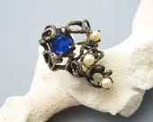 Brutalist Sterling Pearl Ring Vintage Abstract Jewelry R6801