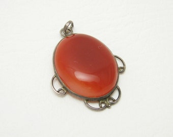 Large Carnelian Sterling Pendant Vintage Artisan Jewelry C6803
