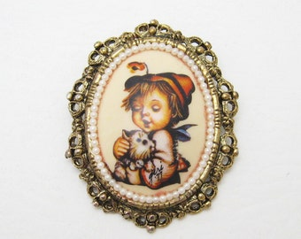 Vintage Hummel Brooch Cat Kitty Jewelry P6812