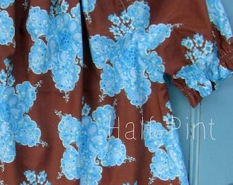 Brown and turquoise peasant dress, Girl's Spring dress, Easter dress, Summer dress, toddler, Bohemian dress, sizes Newborn through  6X