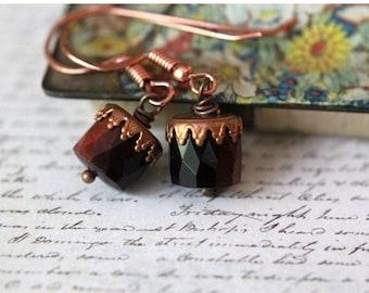 Autumn Crown Earrings  Copper, Tiger's Eye Agate  Brick Red, Dark Brown  Fall Fashion  Gift Box