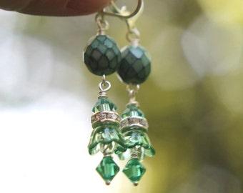 Teal and Mint Floral Earrings  Aqua Green  Crystal Dangles  Silver  Feminine, Romantic  Summer Wedding  Gift Box