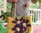 Shop Til' You Drop  -  Extremely Large Felted Tote with Large Clematis Flowers