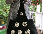 Licorice Stick - Medium Sized Black Felted Shoulder Bag with Corkscrew Swirls of White