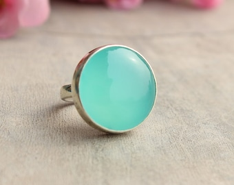 Aqua ring - Chalcedony ring - Round ring - Cabochon ring - Bezel set ring - Gift for her