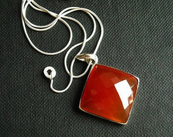 Carnelian Pendant - Burnt orange carnelian - Square pendant - Gemstone pendant - Christmas gift idea