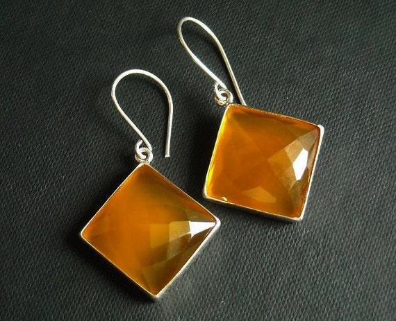 Canary earrings - Yellow earrings - Chalcedony earrings - Square earrings - Bezel earrings - Silver - Christmas gift idea
