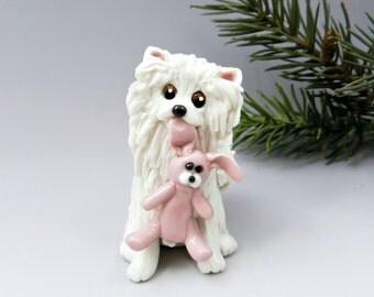 Pomeranian White Christmas Ornament Figurine Toy Bunny Porcelain