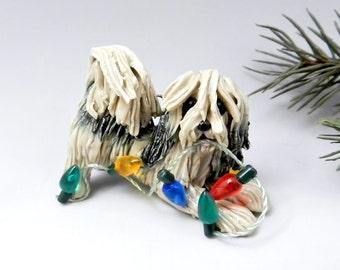 Lhasa Apso Gold Sable Christmas Ornament Figurine Lights Porcelain