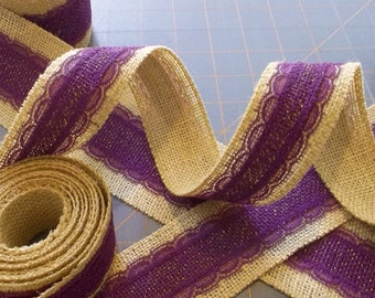 Violet and Gold Burlap Ribbon with Lace