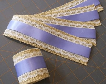 Burlap Napkin Rings with Lace and Satin Ribbon