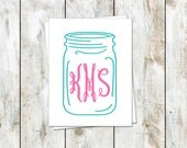 Monogram Stationery with Ball Jar Design Free Shipping