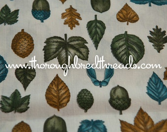 """Fall Leaves and Acorns - Vintage Fabric Mod 70s Cool Graphics Fall Colors 44"""" wide"""