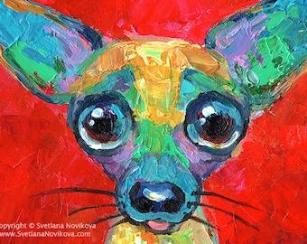 Colorful Chihuahua puppy dog painting Photo PRINT Svetlana Novikova