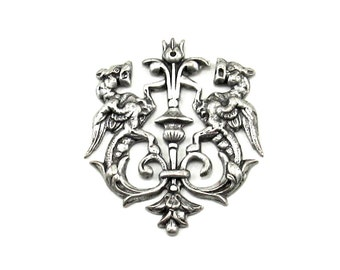Double Gargoyle / Winged Dragon - Antiqued Silver Plated Heraldic Regal Royal Crest Stamping