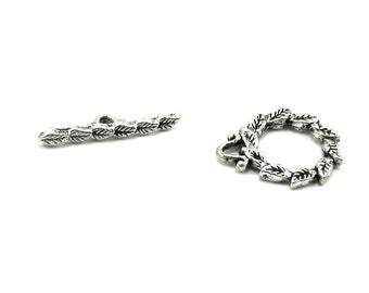 1 Piece - Bohemian / Woodland / Fairy Antiqued Silver Plated Leaf Toggle Bar and Ring