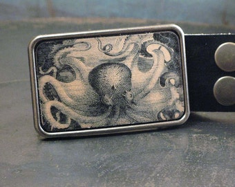 Vintage inspired. Mens Belt buckle. Octopus. Nautical.