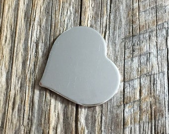 1 inch 20g Sterling Silver Heart Stamping Blank