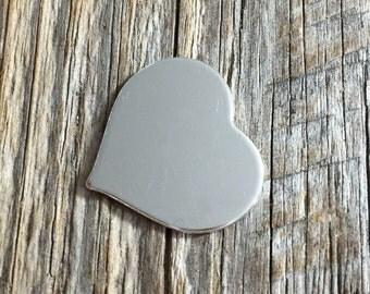 3/4 inch 20g Sterling Silver Heart Stamping Blank
