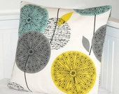 teal grey mustard dandelion cushion cover, decorative pillow cover 18 inch