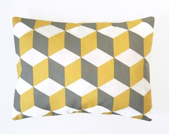 12 x 16 inch decorative pillow cover, mustard yellow, grey white, abstract cube lumbar cushion cover