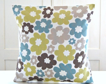 REDUCED TO CLEAR retro flowers cushion cover, teal blue, lime green, light brown flowers, floral 16 inch decorative pillow cover