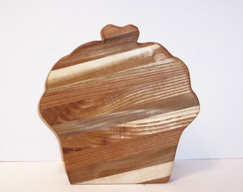 Cupcake Wood Cutting Board Handcrafted from Mixed Hardwoods