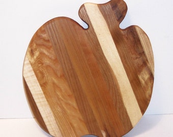 APPLE Cutting Board Handcrafted from Mixed Hardwoods