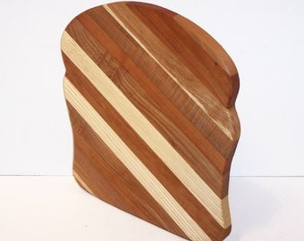 Bread Cutting Board Handcrafted from Mixed Hardwoods