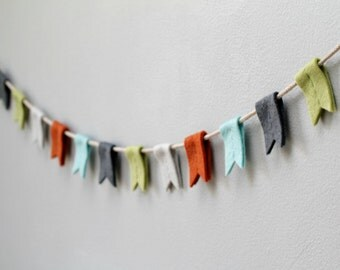 Felt Flag Bunting. Nursery Banner with Notched Flags. Rustic Mountain Bunting. Modern Nursery Garland. Handmade by OrdinaryMommy on Etsy