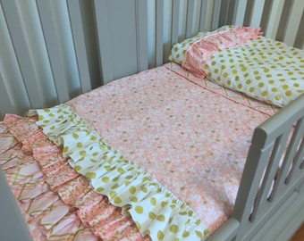 Toddler Quilt Blanket with Ruffles, Custom Toddler Bedding- Quilt, Comforter or Large Minky Blanket- Your choice of fabric