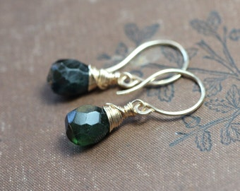 Dark Green Tourmaline Earrings Gold Wire Wrapped Briolette Black Tourmaline Faceted Gemstone