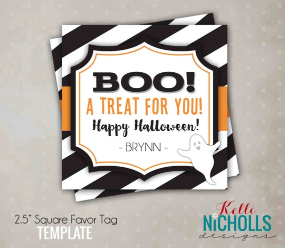 Boo Halloween Treat Tag, Halloween Candy Baggie Tag, Printable Instant Download