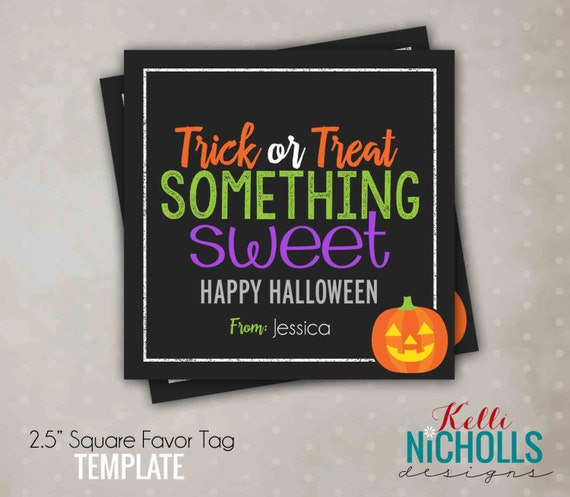 Printable Trick or Treat Something Sweet Tag, Halloween Candy Bag Tag, Printable Instant Download
