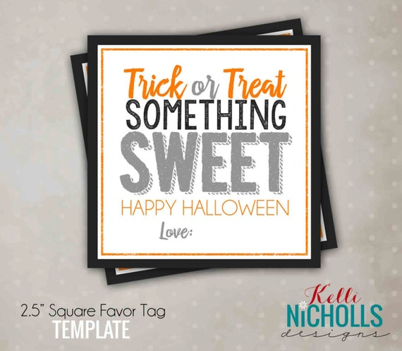 Printable Halloween Treat Tag Pink, Halloween Candy Tag, Printable Instant Download