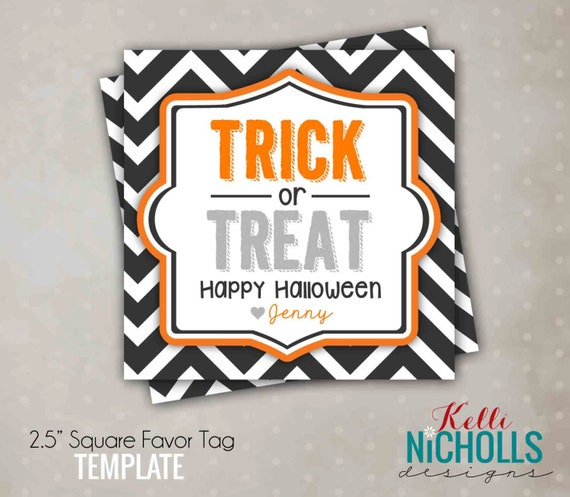 Printable Halloween Trick or Treat Tag, Halloween Candy Bag Tag, Printable Instant Download