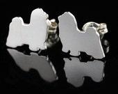 Shih Tzu Sterling Silhouette Earrings V1