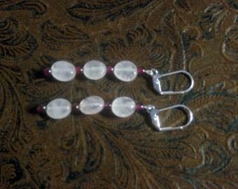 Rose Quartz & Garnet Leverback Earrings