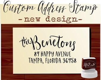 Calligraphy Handwriting Script Custom Return Address Stamp - Personalized SELF INKING Wedding Stationery Stamper - Style 1108B